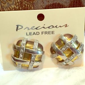 lead free crystal square mixed metal clip earrings